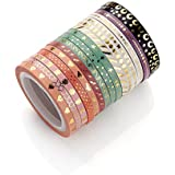 Agutape AGU Foil Gold Skinny Washi Tape DIY Japanese Masking Tape Supplies Set of 16
