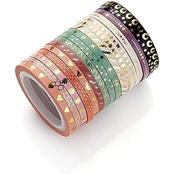 AGU Foil Gold Skinny Washi Tape DIY Japanese Masking Tape Supplies Set Of 16