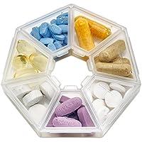 MEDca organizador semanal de píldoras, recordatorio de píldoras de 7 espacios, redondeado