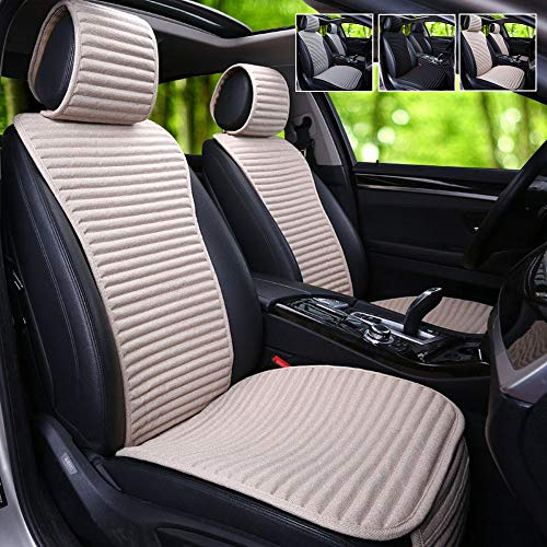 Car Seat Covers,Suninbox Universal Car Seat Covers Pads Mat,Buckwheat Hull Bottom Seat Covers For Cars,Breathable Comfortable Ventilated Cooling Seat Covers [1 Pack Beige Front Seat]