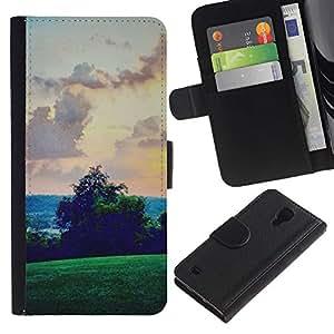 Green Hills Sky View Rosa- la tarjeta de Crédito Slots PU Funda de cuero Monedero caso cubierta de piel Para Samsung Galaxy S4 IV I9500