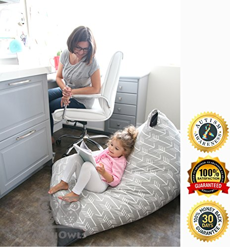MiniOwls TOY STORAGE BEAN BAG COVER - fits 200L/52 gal - Stuffed Animal Organizer in GRAY with white arrows - Soft & Comfy Cover that Creates Cozy Lounger Bed – (also comes in Navy & 100l size)