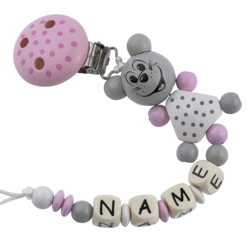 PREMIUM Schnullerkette mit Namen HOLZ Modell kleine Maus flieder