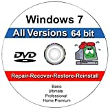 Windows 7 All versions Professional, Home Premium, Ultimate, Basic 64-Bit Install | Boot | Recovery | Restore DVD Disc