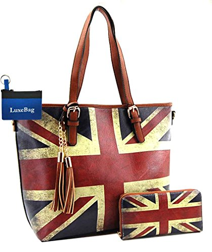 Brown Union Jack - UK Union Jack Flag Large Purse Wallet Set, Vintage Great Britain Tote Style (Tan)