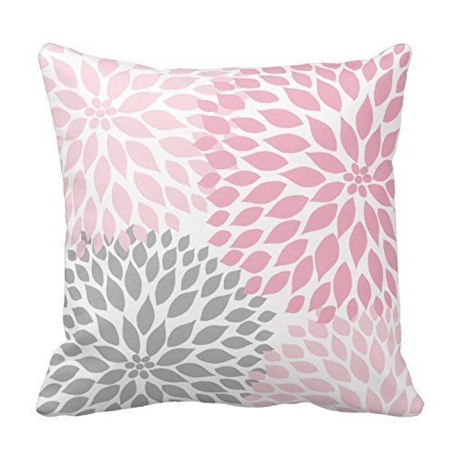 "CiCiDi Pink And Gray Dahlia Flower Floral Decorative Cotton Canvas Throw Pillow Slip 18""x 18"""