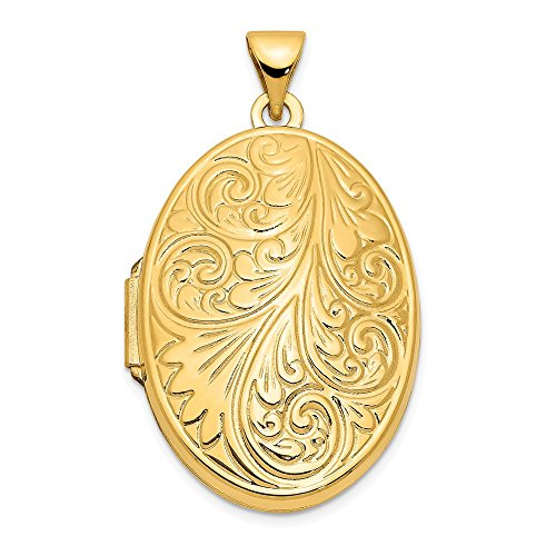 14k Yellow Gold Scroll Oval Photo Pendant Charm Locket Chain Necklace That Holds Pictures Fine Jewelry Gifts For Women For Her