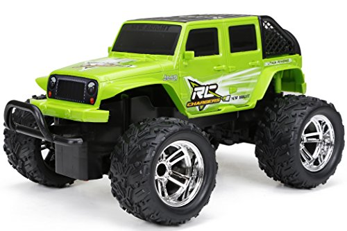 New Bright Chargers F/F 4-Door Jeep RC Vehicle (1:18 Scale), Green ()