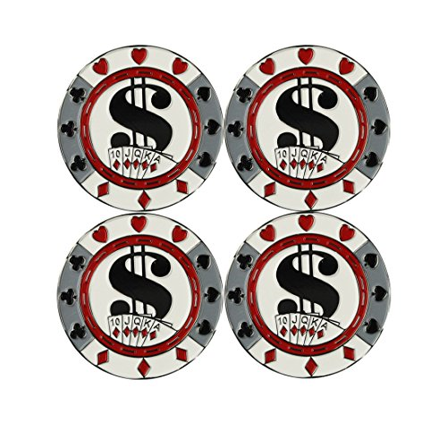 PINMEI Set of 4 Metal Magnetic Golf Poker Chips with Removable Ball (Magnetic Poker)