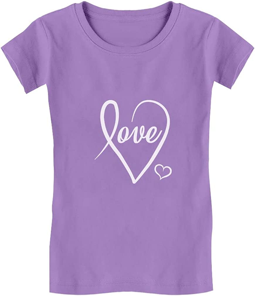 Tstars Love Cursive Heart Valentines Day Girls Fitted Kids T-Shirt