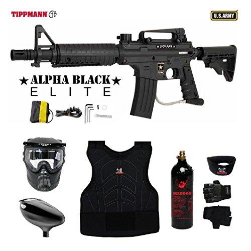 Tippmann U.S. Army Alpha Black Elite Tactical Beginner Protective CO2 Paintball Gun...