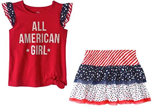Americana Skirt - Toddler Girl's Americana Skirt and Tank Top July 4th Set (2T)