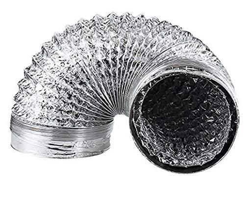 Sattiz Flexible 6 inch 5ft Flex Aluminum Dryer Foil Vent Duct Non- Insulated Ventilation Tube 6