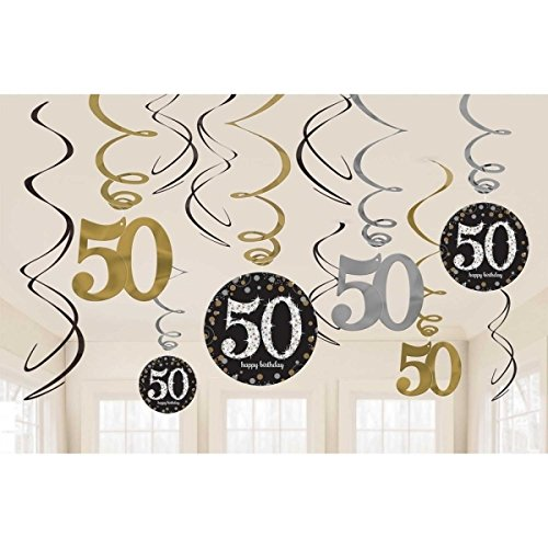 [Sparkling Celebration 50 Hanging Swirls] (50th Party Decorations)