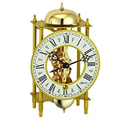 Qwirly Store: LAHR Mechanical Mantel Clock #23004000711 by Hermle - Skeleton Antique Table Clock with Pendulum and Chimes