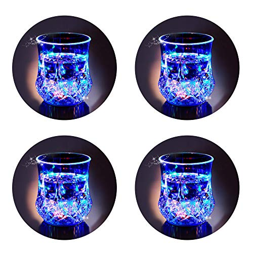 LED Cups 2win2buy 4 PACK Flashing Light up Automatic Water Activated Color Changing Wine Whisky Beer Cola Juice Drinkware Mugs Shot Glass for Bar Disco Night Club Party Halloween Christmas, Set of 4 -