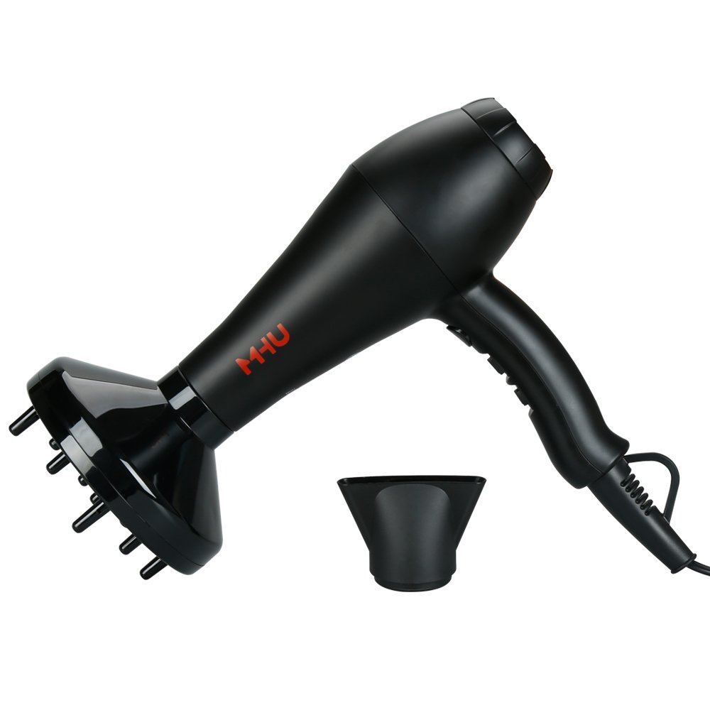 MHU Professional Infrared Ionic Hair Dryer With Concentrator & Diffuser 1875w AC Motor 2 Speed And 3 Heating 2.65M Salon Cable Blow Dryer, Black