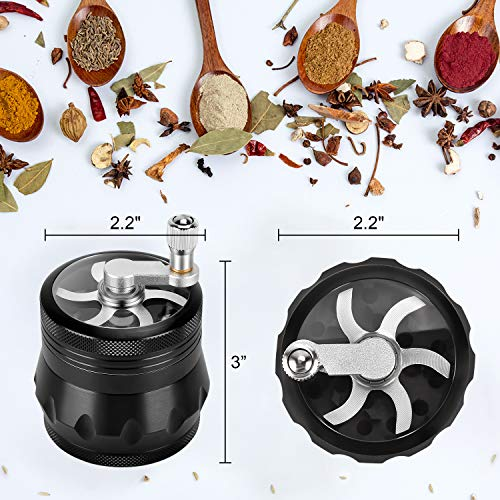 Grinder, 4 Pieces 2.2 Inch Hand Cranked Grinder with Scraper and Brush, Black Zinc Alloy Spice Grinder (Black)