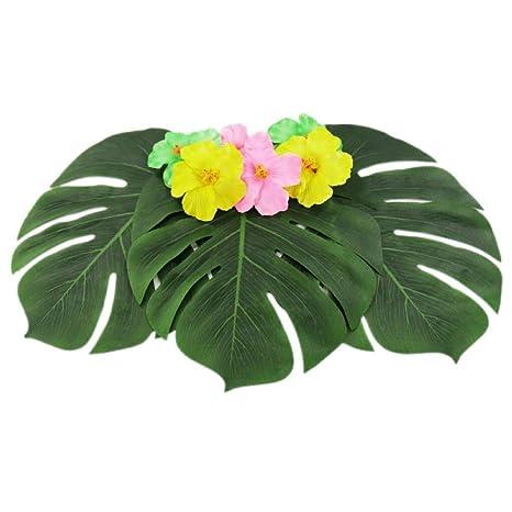 de8929f4acfb Bubble-Princess - 12pcs 35x29cm Artificial Tropical Palm Leaves for ...