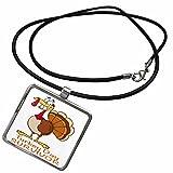 3dRose Dooni Designs More Random Cartoon Designs - Funny Turkey Day Survivor Turkey - Necklace With Rectangle Pendant (ncl_118711_1)
