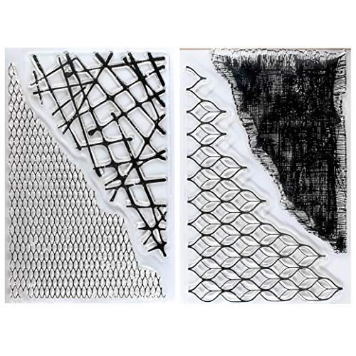 Kwan Crafts 2 Sheets Different Style Grid Fish Net Cloth Background Clear Stamps for Card Making Decoration and DIY Scrapbooking