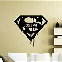Personalized Superman Wall Decal Custom Name Superhero Vinyl Sticker Superman Logo Home Personal Nursery Room Interior Art Decoration Kids Girl Room Mural Waterproof Vinyl Sticker (326su)