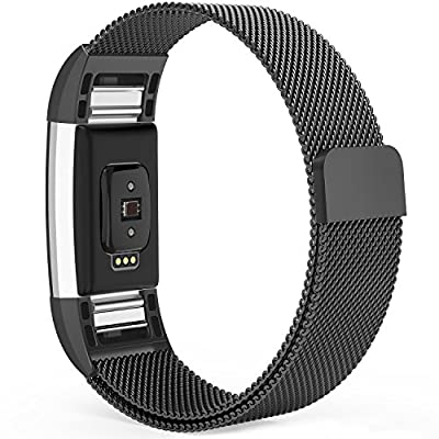 Fitbit Charge 2 Bands,Fitbit Bands Milanese Loop Stainless Steel Metal Replacement Bracelet Strap, Wristbands Accessories for Charge 2 with Stronger Magnetic Clasp, Small Large, Silver Black Gold