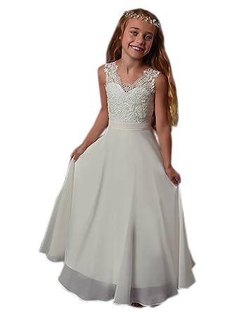 71ff067722 Datangep Girl's Double V-Neck Lace Bodice Chiffon Beach Flower Girl Dress  White Age2
