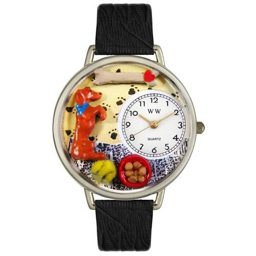Whimsical Watches Unisex U0130009 Begging Dog Black Skin Leather Watch (Dog Charm Watch Puppy)