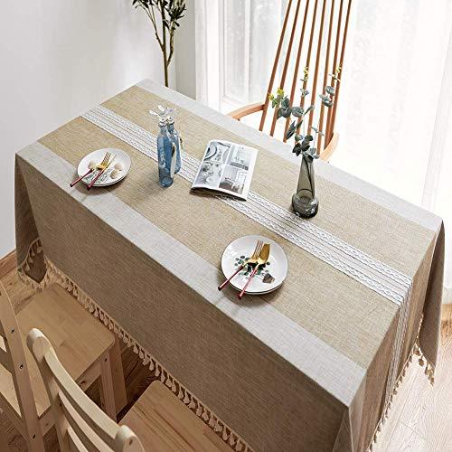 AMZERO Manteles NavidenOs Manteles Mesa Rectangular Tela Antimanchas Colores Decoracion para Mesa Rectangular de Comedor Cocina JardiN, Lino 130x170cm