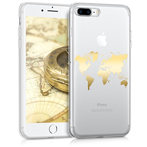kwmobile TPU Case for Apple iPhone 7 Plus / 8 Plus - Soft TPU Silicone Cover - Crystal Clear Back Case IMD Design - Gold/Transparent from kwmobile