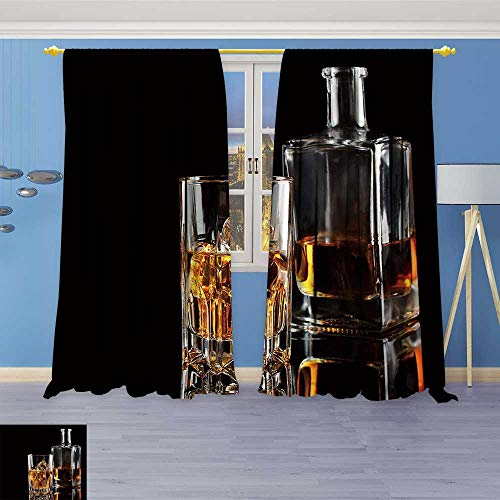(Leigh-home Room Darkening Wide Curtains Glass of Whiskey with ice and a Square Decanter Isolated on a Black Customized Curtains 96W x 84L Inch)