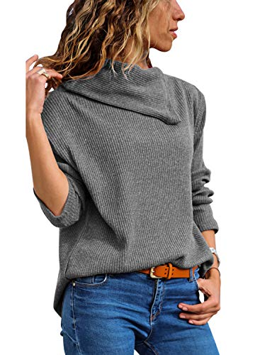 FARYSAYS Women's Loose Asymmetric Cowl Neck Ribbed Knit Top Lightweight Pullover Sweater Grey X-Large
