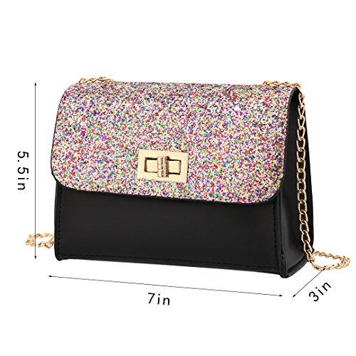 Shoulder Candice Handbag PU Women Leather Purse Crossbody Shiny Bag Bag Sequins Pink OOZwCxq