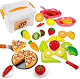 FUNERICA Set of Pretend Food Playset for Kids, Includes Cutting Play Fruits and Veggies, Pizza Pie, Poultry, Mini Pots and Pans, Cutting Board, Knife and More