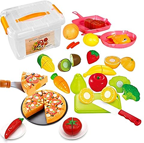 FUNERICA Set of Pretend Food Playset for Kids, Includes Cutting Play Fruits and Veggies, Pizza Pie, Poultry, Mini Pots and Pans, Cutting Board, Knife and (Food Return Policy)