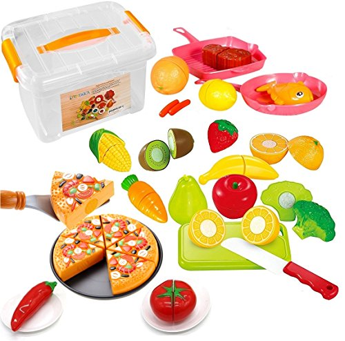 FUNERICA Set of Pretend Food Playset for Kids, Includes Cutting Play Fruits and Veggies, Pizza Pie, Poultry, Mini Pots and Pans, Cutting Board, Knife and (Cooking Food Plastic)