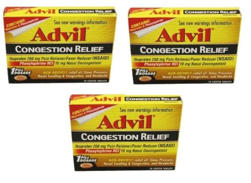 Advil Congestion Relief Ibuprofen 200mg Pain Reliever Fever Reducer NON Drowsy - 3 Pack of 10 Coated Tablets