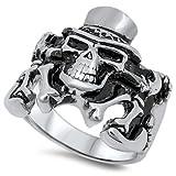 Stainless Steel Slash Magic Hat Skull Ring 22MM Size 10