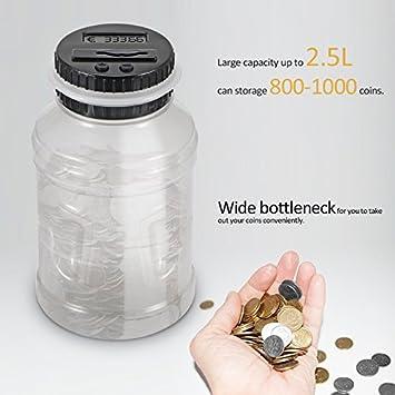 ShangSky Salvadanaio Digitale Monete salvadanaio 1.8l Banca di Moneta in Denaro per Addominali con vasetto per Il conteggio delle Monete con Display LCD Luminoso per Regalo per Bambini