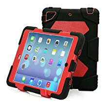 iPad Mini 4 Case, Aceguarder Kickstand Case with Built-in Screen Protector,[Extreme Heavy Duty][Shockproof][Drop Absorption][Kids proof] Case for iPad Mini 4 (2015) (Black Red, iPad Mini 4)