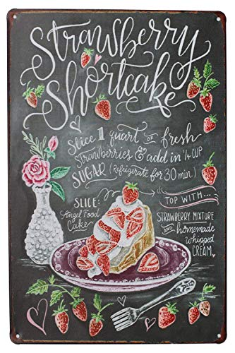 (Laurenycy Tin Sign Quality Strawberry Shortcake Metal Sign Vintage Garage Home Decor 8X12 INCH)