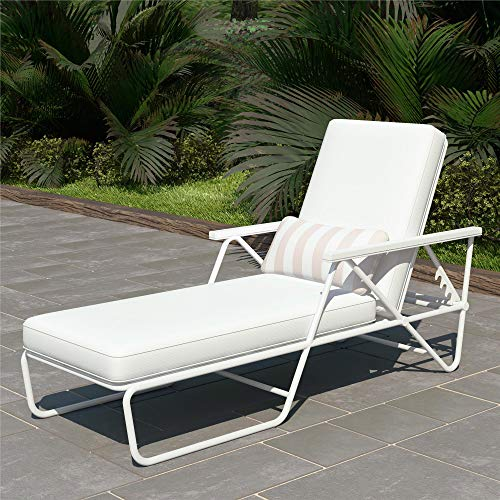 (Novogratz 88063WHT1E Poolside Connie Outdoor Chaise Lounge, White)