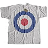 Old Skool Hooligans Classic Mod T Shirt - RAF Roundel Target Logo T Shirt (Medium) Grey