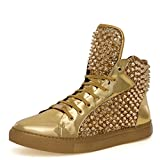 J75 by Jump Men's Zulu Round Toe Glitter Spike Lace-Up High-Top Sneaker Gold 8 D US Men