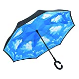 Ylovetoys Inverted Umbrella Double Layer Windproof Reverse Umbrella for Car and Outdoor Use (Sky Blue)