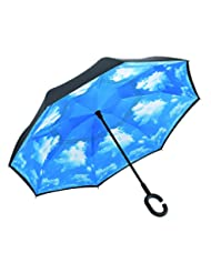 Ylovetoys Inverted Umbrella Double Layer Windproof Reverse Um...
