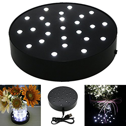Acmee 6 Inch Round Super Bright LED Plate Light, Display Light base for Crystals, 25 LED Vase Base Light with Black Case for Wedding Table. Battery Operated/USB Cable 2 functions (6inch)