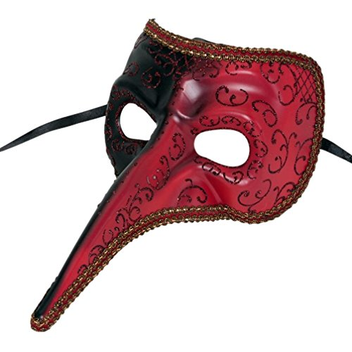 [Mememall Fashion Black and Red Long Nose Plague Doctor Mask] (Medico Della Peste Costume)