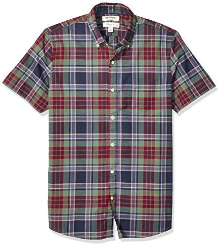 - Goodthreads Men's Slim-Fit Short-Sleeve Madras Shirt, Green Burgundy Plaid XXX-Large